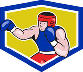 Amateur Boxer Boxing Shield Cartoon — Stock Vector