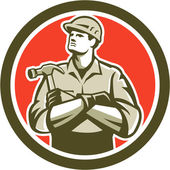 Builder Carpenter Arms Crossed Hammer Circle Retro — Stock Vector