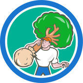 Gardener Arborist Carrying Tree Cartoon — Stock Vector