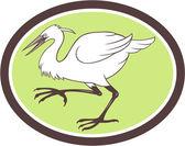 Egret Heron Crane Walking Cartoon — Stock Vector