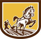 Farmer and Horse Plow Farm Crest Woodcut Retro — Stock Vector