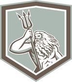 Neptune bedrijf trident schild retro — Stockvector