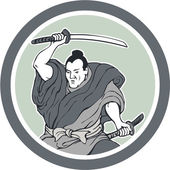 Samurai Warrior Wielding Katana Sword Circle — Stock Vector