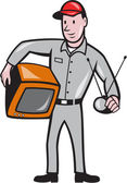 TV Repairman Technician Cartoon — Stock Vector
