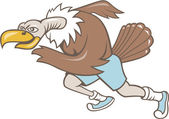 Vulture Buzzard Runner Running Cartoon — Stock Vector