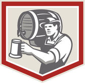 Barman Lifting Barrel Pouring Beer Mug Retro — Stock Vector