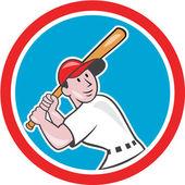 Baseball Player Batting Looking Up Circle Cartoon — Stock Vector