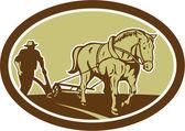 Horse and Farmer Plowing Farm Oval Retro — Stock Vector
