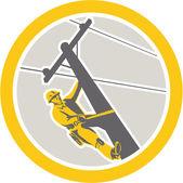 Power Lineman Repairman Climbing Pole Circle — Stock Vector