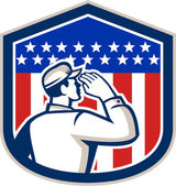 American Soldier Saluting Flag Shield — Stock Vector