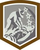 Orgánica escudo de agricultores cultivar verduras — Vector de stock
