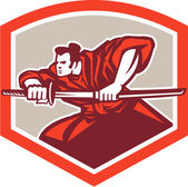 Samurai Warrior Drawing Katana Sword Shield — Stock Vector
