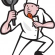 Chef Cook Holding Frying Pan Kung Fu Stance Cartoon — Stock Vector #46239761