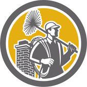 Chimney Sweeper Worker Retro — Stock Vector