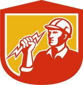 Electrician Clutching Lightning Bolt Shield — Stock Vector