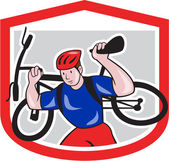 Cyclist Carrying Mountain Bike on Shoulders Cartoon — Stock Vector
