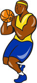 African-American Basketball Player Shoot Ball Cartoon  — Stock Vector