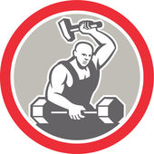 Blacksmith Striking at Barbell with Sledgehammer Retro — Stock Vector