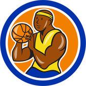 African-American Basketball Player Shooting Cartoon Circle — Stock Vector