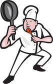 Chef Cook Holding Frying Pan Kung Fu Stance Cartoon — Stockvektor