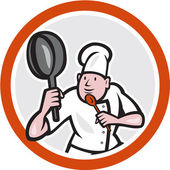 Chef Cook Holding Frying Pan Fighting Stance Cartoon — Stockvektor