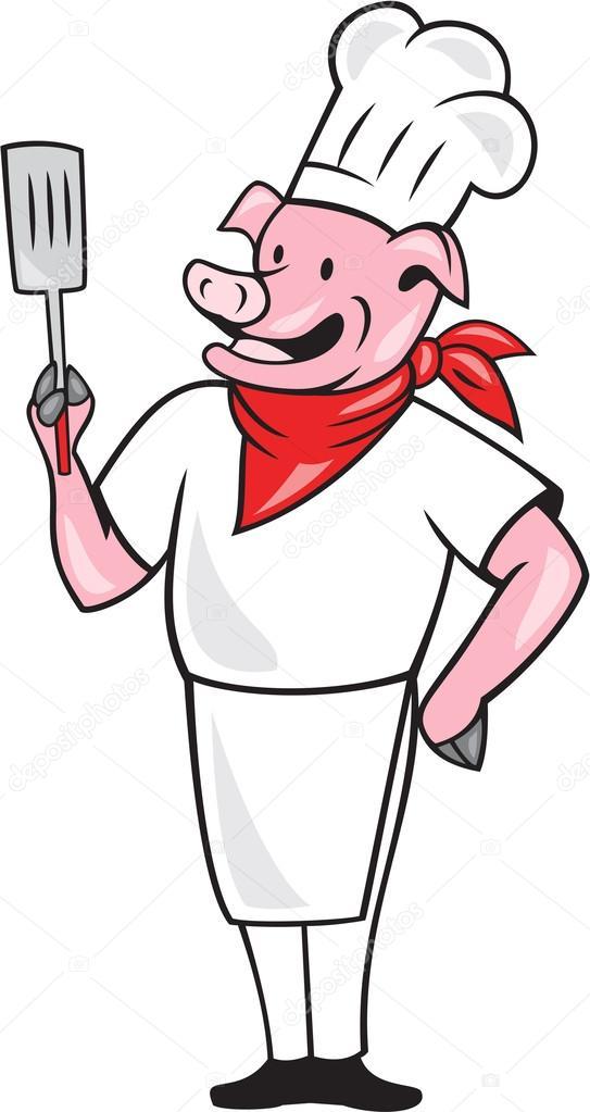 Cochon chef cuisinier d tenant la caricature de la spatule for Cuisinier 94 photos