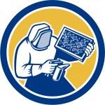 Beekeeper Honey Farmer Bee Smoker Circle Retro — Stock Vector