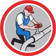 Plumber Pipe Worker Turning on Flow Circle Cartoon — Stock Vector