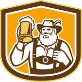 Bavarian Beer Drinker Mug Shield Retro — Stock Vector