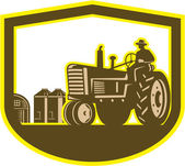 Farmer Driving Tractor Plowing Farm Shield Retro — Stock Vector
