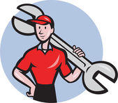 Mechanic Hold Spanner On Shoulder Circle Cartoon — Stock Vector