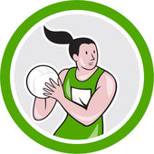 Netball Player Catching Ball Circle Cartoon — Stock Vector