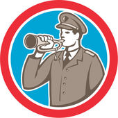 Soldier Blowing Bugle Circle Retro — Stock Vector