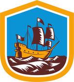 Sailing Ship Galleon Crest Retro Woodcut — Stock Vector