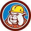 Bulldog Construction Worker Head Cartoon — Stock Vector