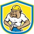 Bulldog Construction Worker Holding Hammer Cartoon — Stock Vector