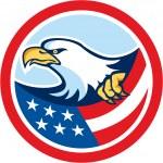 American Bald Eagle Clutching Flag Circle Retro — Stock Vector