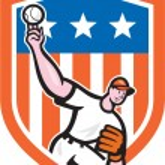 Постер, плакат: Baseball Pitcher Throw Ball Shield Cartoon