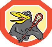 Black Bird Lacrosse Player Shield Cartoon — Stock Vector