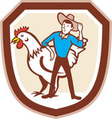 Chicken Farmer Feeder Shield Cartoon — Stock Vector
