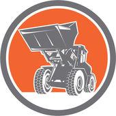 Front End Loader Digger Excavator Circle Retro — Stock Vector