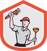Plumber Holding Wrench Plunger Cartoon — Stock Vector