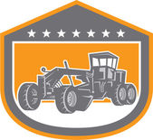 Road Grader Shield Retro  — Stock Vector