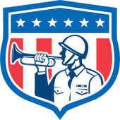 Soldier Blowing Bugle Crest Stars Retro — Stock Vector
