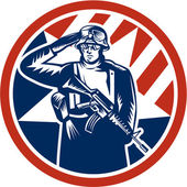 American Soldier Salute Holding Rifle Retro — Stock Vector