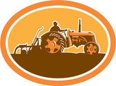 Farmer Driving Vintage Farm Tractor Oval Retro — Stock Vector