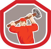 Union Worker Striking Smashhammer Shield Retro — Stock Vector