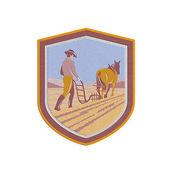 Metallic Farmer and Horse Plowing Farm Field Crest Retrometallic, 3d, metal, — Stock Photo