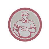 Metallic Tiler Plasterer Mason Masonry Worker Circle — Stock Photo
