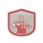 Metallic Soldier Military Serviceman Holding Assault Rifle Crest Retro — Stock Photo